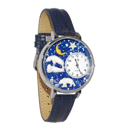 Whimsical Polar Bear Navy Blue Leather And Silvertone Watch