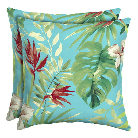 Better Homes & Gardens Teal Aruba Palm 16 in. Square Outdoor Toss Pillow - Set of 2 Accessories Square Toss Pillow