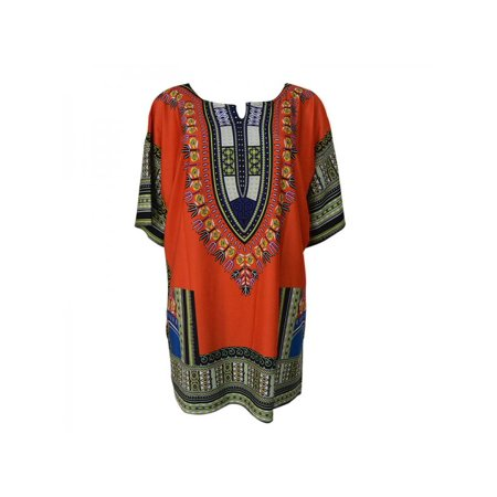 Jlong Women African Dashiki Kaftan Boho Hippe Gypsy Festival Party Shirt Dress
