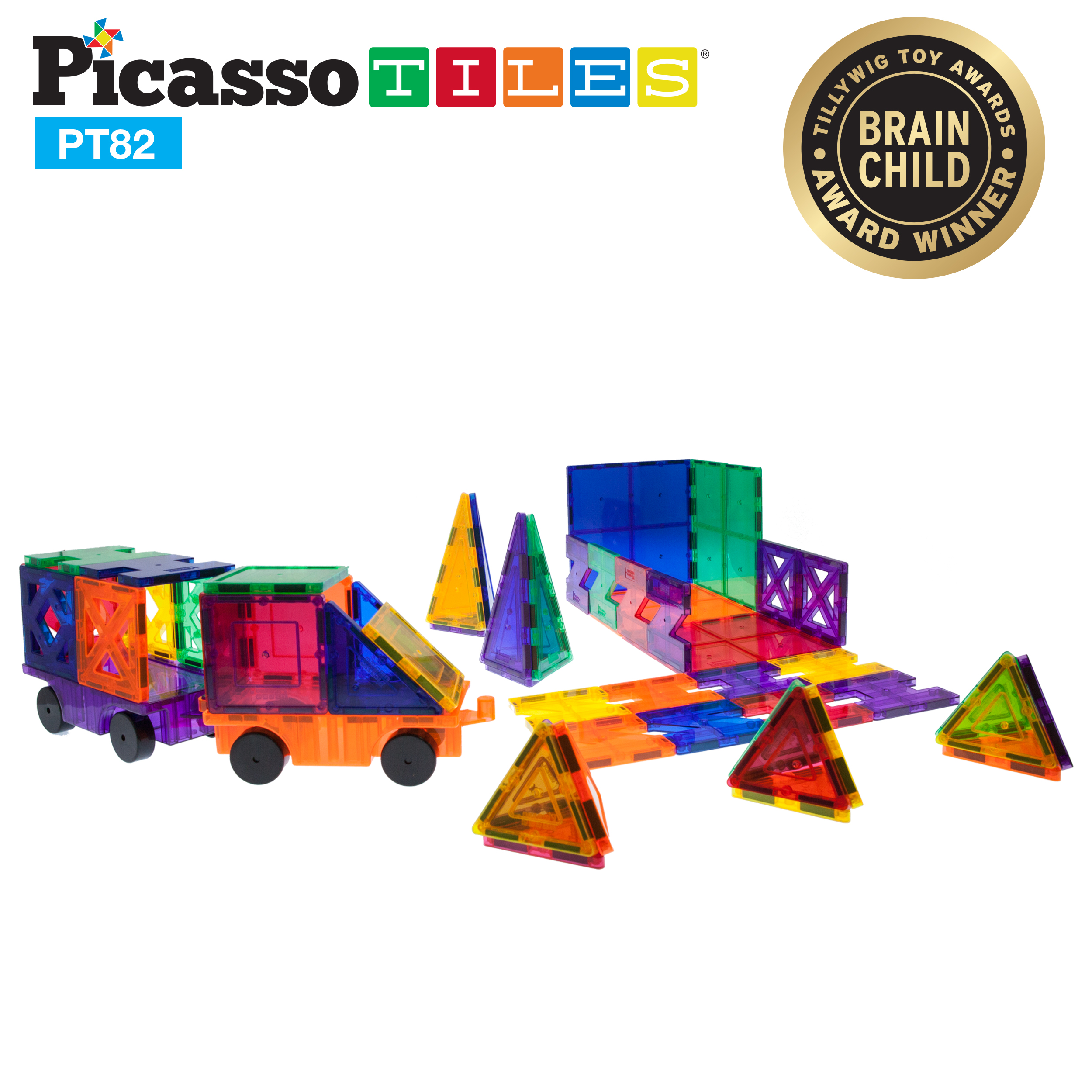 PicassoTiles 82 Piece Designer Artistry Set Clear 3D Magnet Building Blocks Tiles... by PicassoTiles
