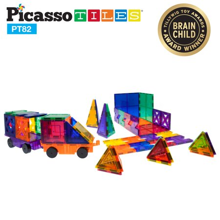 PicassoTiles Creativity 82 Piece Set Magnet Building Tiles Clear Color Magnetic 3D Building Block