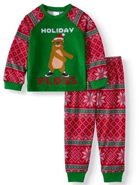 Sleepimini Boys' Youth Ugly Christmas Sweater Print Pajamas, 2-Piece Set (Little Boys and Big Boys)