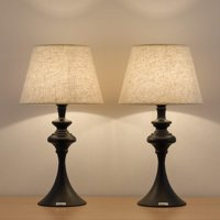 Traditional Modern Bedside Table Reading Lamp, Set of 2 - Black