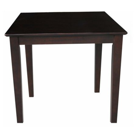 International Concepts Solid Wood Top Table with Shaker Legs, Rich (Dark Mocha Wood Audio)