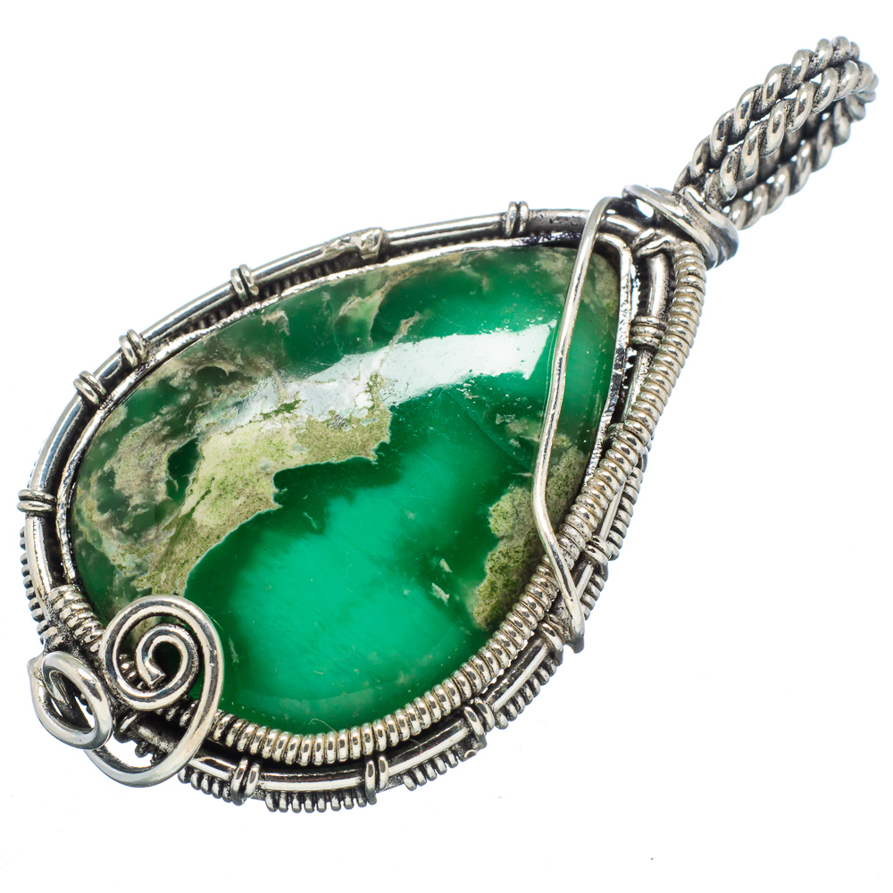 "Ana Silver Co Chrysoprase 925 Sterling Silver Pendant 2"" PD599043 by Ana Silver Co."