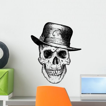 Pimp Skull Illustration Wall Mural Decal by Wallmonkeys Vinyl Peel and Stick Graphic (18 in H x 15 in W) - Pimp Stick