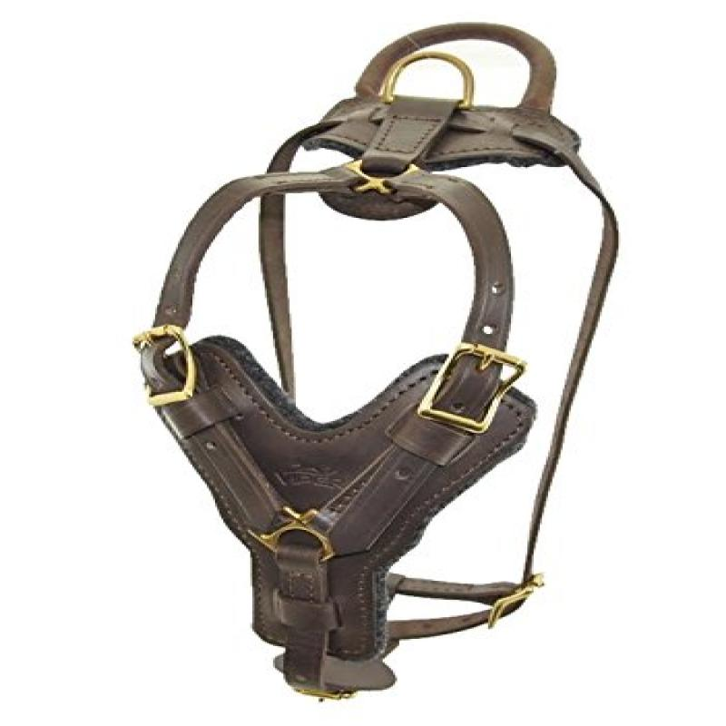 "Typhoon Leather Working Dog Harness, Brass Hardware N 21"" - 30"" (52cm-77cm) G 32"" - 40"" (801cm-104cm) Black"