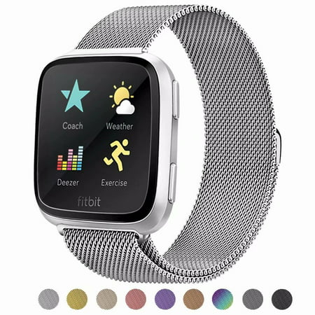 POY For Fitbit Versa Bands, Stainless Steel Milanese Loop Metal Replacement Bracelet Strap with Unique Magnet Lock for Fitbit Versa, Small Large