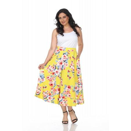 White Mark Women Plus Sizes Multi Colored Casual Tasmin Flare Printed Midi Skirts