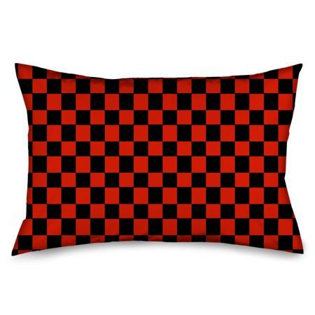Black and Red Checkered Flag Checkers Pillow Case ...