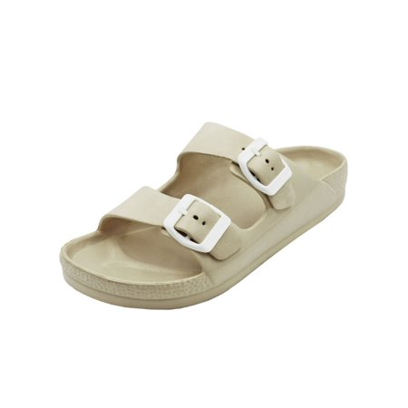 f54fa4426df4 Women's Lightweight Comfort Soft Slides EVA Adjustable Double Buckle Flat  Sandals