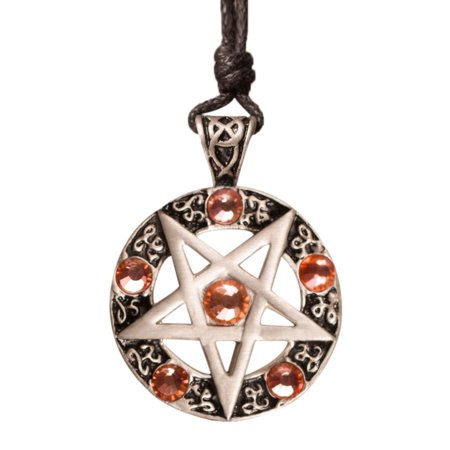 Peach Pentagram Silver Pewter Charm Necklace Pendant Jewelry With Cotton Cord Pentagram Silver Pewter Pendant