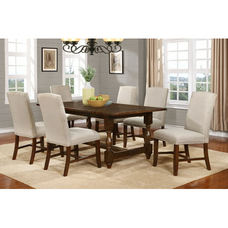 Best Master Furniture Hoover Walnut Color Piece Dining Set - Walnut color dining table