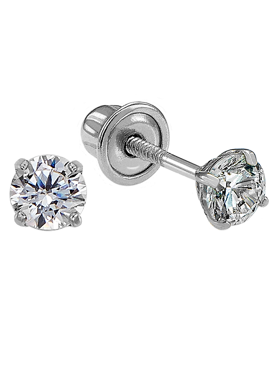 14k White Gold Solitaire Round Cubic Zirconia CZ Stud Earrings in Secure Screw-backs (2.5mm)