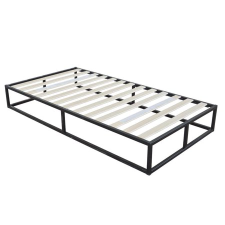Style Twin Slat (Ktaxon Modern Metal Bed 10 Inch Platforma Bed Frame Low Profile Iron Bed , Wood slat support, Twin)