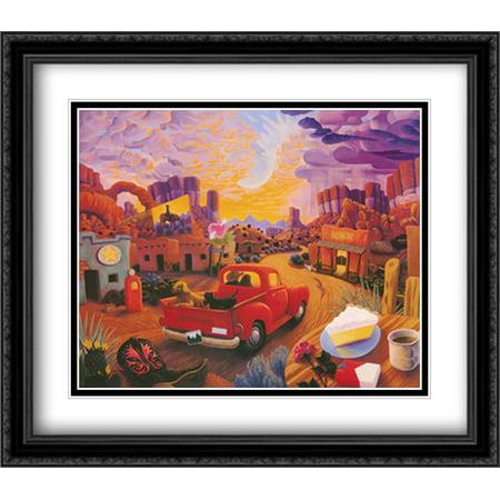 Sunset Ride 2x Matted 32x28 Large Black Ornate Framed Art Print by Stephen Morath ()