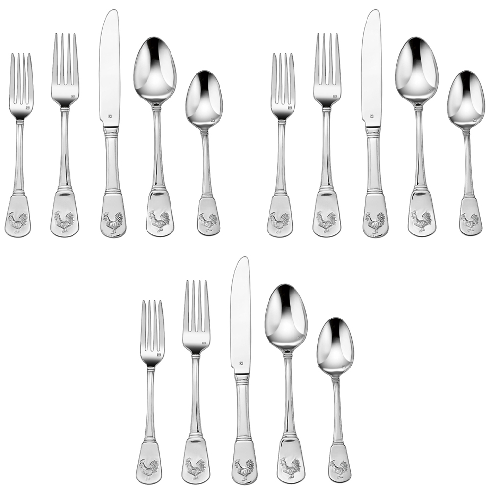 3-Pack of 20-Piece Flatware Set, French Rooster (CFE-01-FR20) by Cuisinart