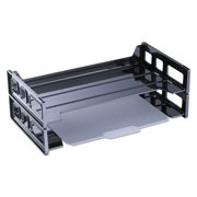 """Universal Recycled Plastic Side Load Desk Trays, 2 Sections, Legal Size Files, 16.25"""" x 9"""" x 2.75"""", Black -UNV08101"""