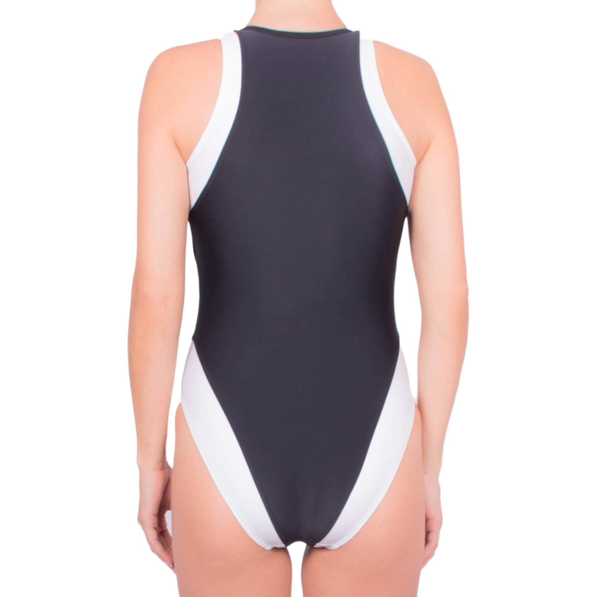 b5279abd5c7 Donatella Sport - Women's Neoprene High-Cut One-Piece Swimsuit With Chunky  Zipper - Walmart.com