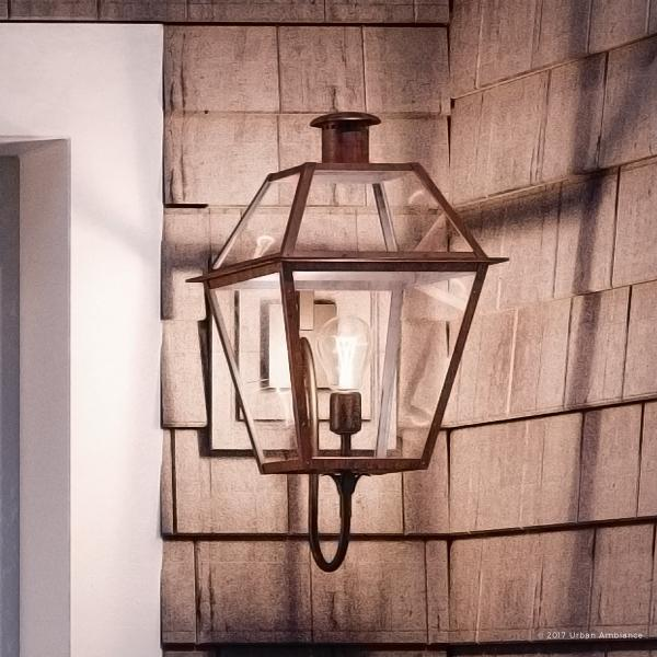 """Urban Ambiance Luxury Historic Outdoor Wall Light, Large Size: 20.5""""H x 9.5""""W, with Tudor Style Elements, Antique Gas Lantern Design, Rustic Copper Finish and Clear Glass, UQL1211"""