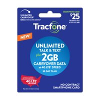 Tracfone $25 Smartphone Unlimited Talk & Text plus 2 GB Plan (Email Delivery)