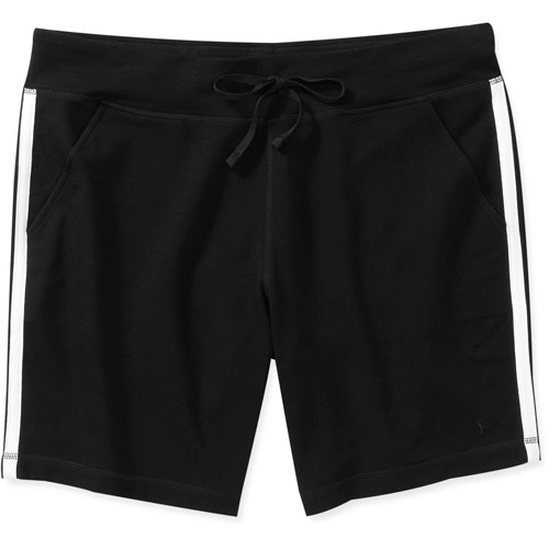 Danskin Now Women's Plus-Size French Terry Bermuda Short with Sporty Contrast Taping