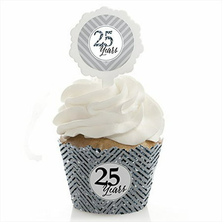 Anniversary Wedding Gift Wrap - We Still Do - 25th Wedding Anniversary - Cupcake Wrapper & Pick Party Kit - Set of 24