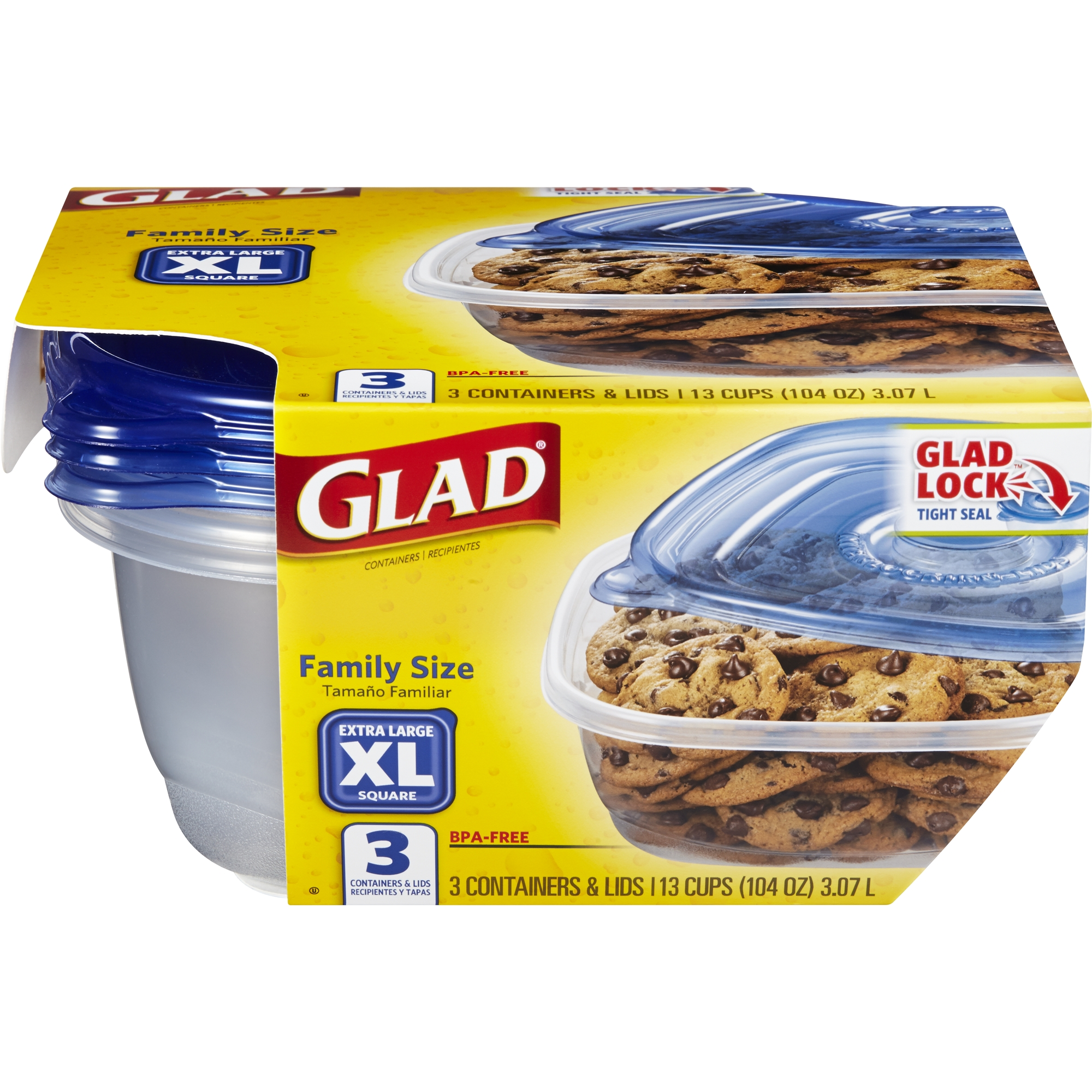 Glad Food Storage Containers - Family Sized Container - 104 oz - 3 ct