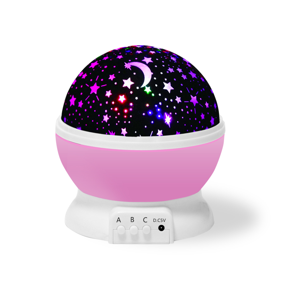 Romantic Night Lamp with Starry Sky Projection, Bedroom Night Lamp for Kids (Pink)
