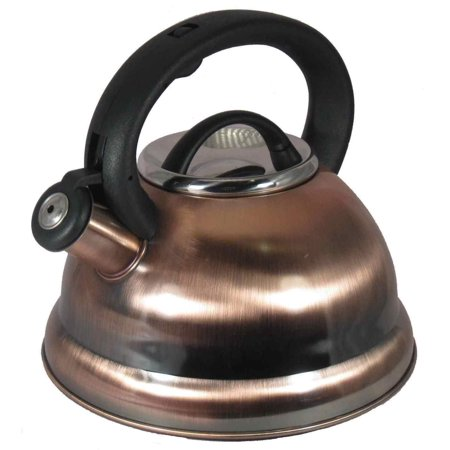 - Alpine Copper Finish Encapsulated Base 18/10 Stainless Steel Whistling Tea Kettle Pot