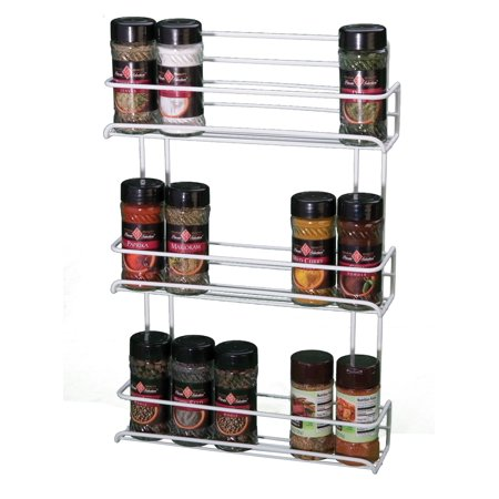Panacea Gourmet Shelf Spice Rack with 3 Shelves, White 3 Shelf Spice Rack
