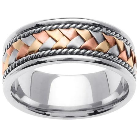 - 18K Tri Color Gold Basket Braid Handmade Comfort Fit Men's Wedding Band (8.5mm)
