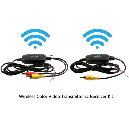 Camera Wireless Receiver Mount (Podofo 9V-35V Wireless Color Video RCA Transmitter & Receiver Kit for Vehicle RV Bus Front Car Backup Camera Vehicle Rear View Monitor )