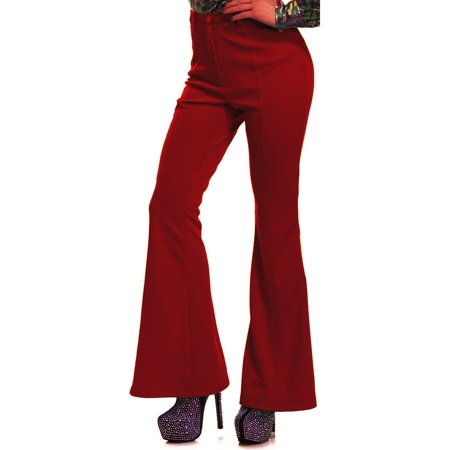 Womens 70s High Waisted Flared Red Disco Pants](70s Womens Hair)