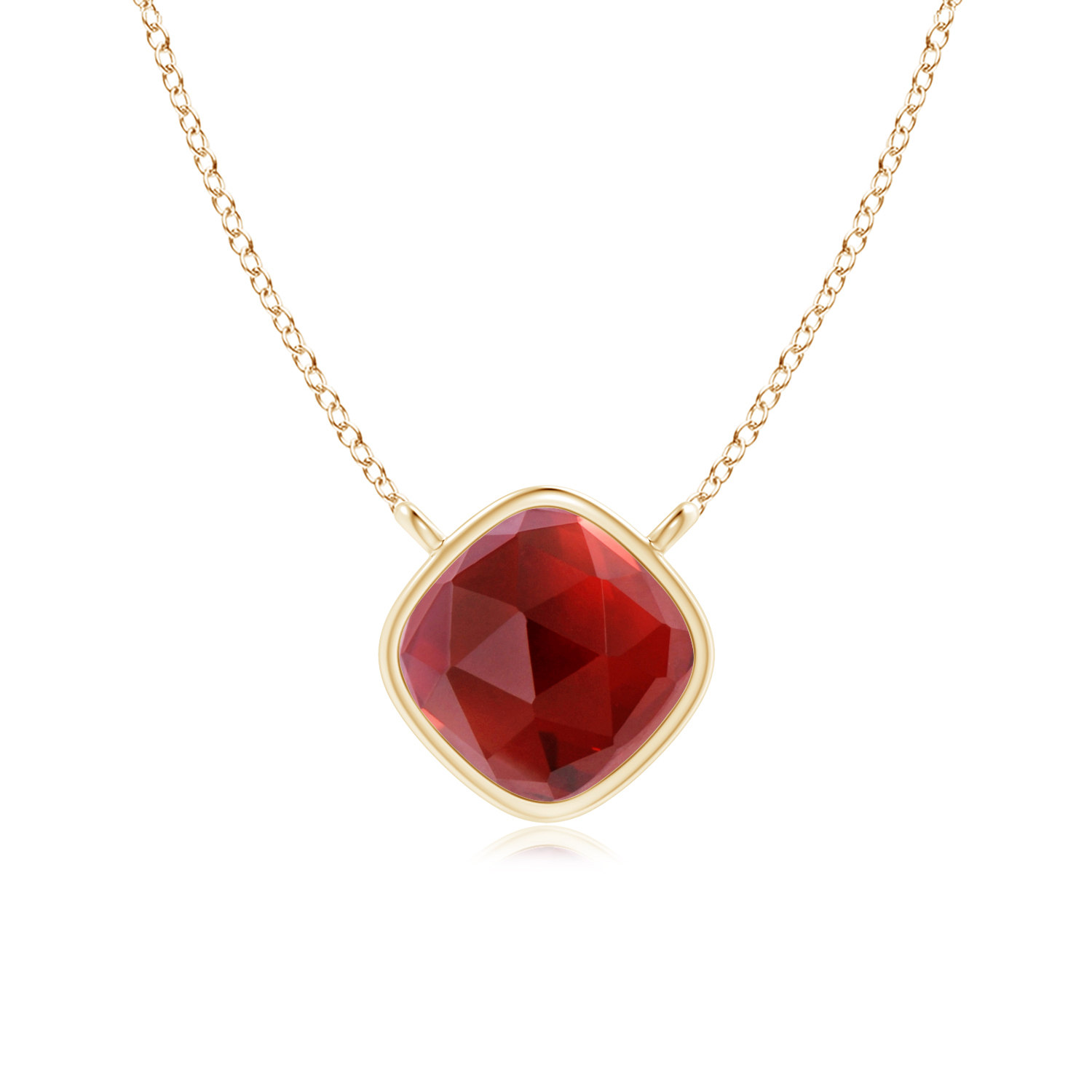 January Birthstone Pendant Necklaces Bezel Set Cushion Garnet Solitaire Necklace in 14K Rose Gold (5mm Garnet)... by Angara.com