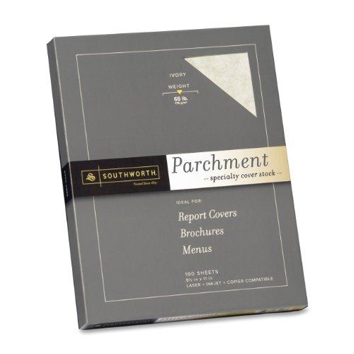 """Southworth Parchment Cover Stock - Letter - 8.50"""" X 11"""" - 65 Lb - Parchment - 100 / Box - Ivory (Z980CK)"""