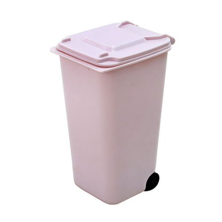 Creative Mini Wheelie Trash Can Plastic Storage Bin Desktop Organizer Pen/Pencil Cup