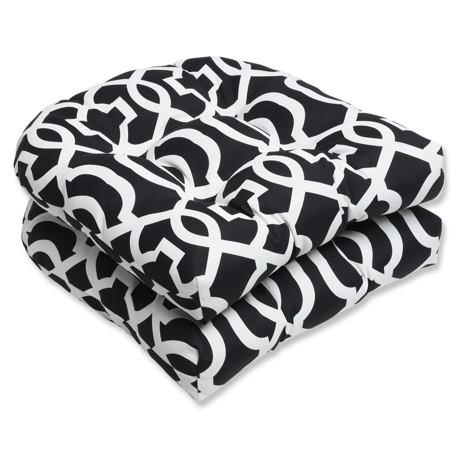 """Set of 2 Labirinto Geometrico Black and White Outdoor Patio Tufted Wicker Chair Cushions 19"""""""