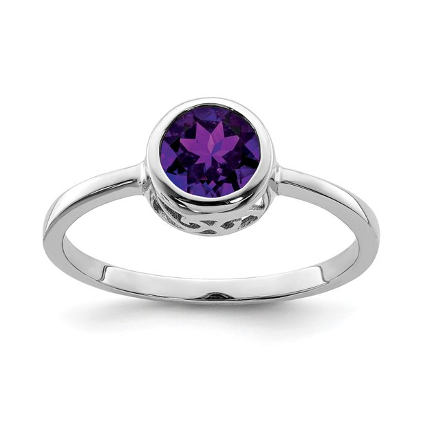 White Sterling Silver Ring Band Birthstone (02) February Amethyst Purple