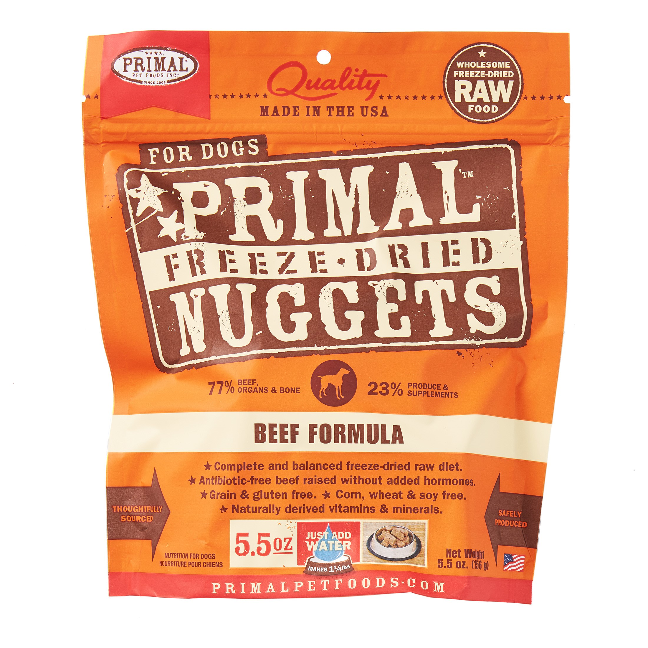 Primal Pet Foods Nuggets Grain-Free Beef Formula Freeze Dried Dog Food, 5.5 oz