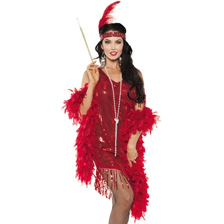 Red Sequined Swinging Flapper Dress 20'S The Great Gatsby Halloween Costume - Flapper Dress Plus Size Cheap