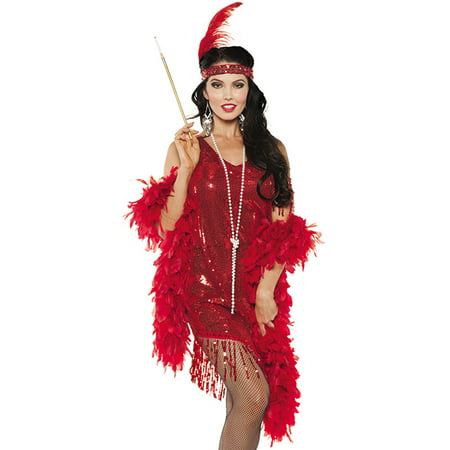 Red Sequined Swinging Flapper Dress 20'S The Great Gatsby Halloween Costume - Red Costumes