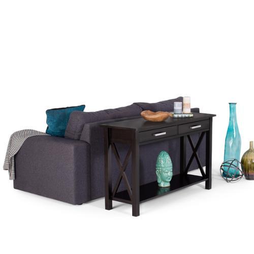 WyndenHall  Waterloo Dark Walnut-stained Pine 2-drawer Console Sofa Table