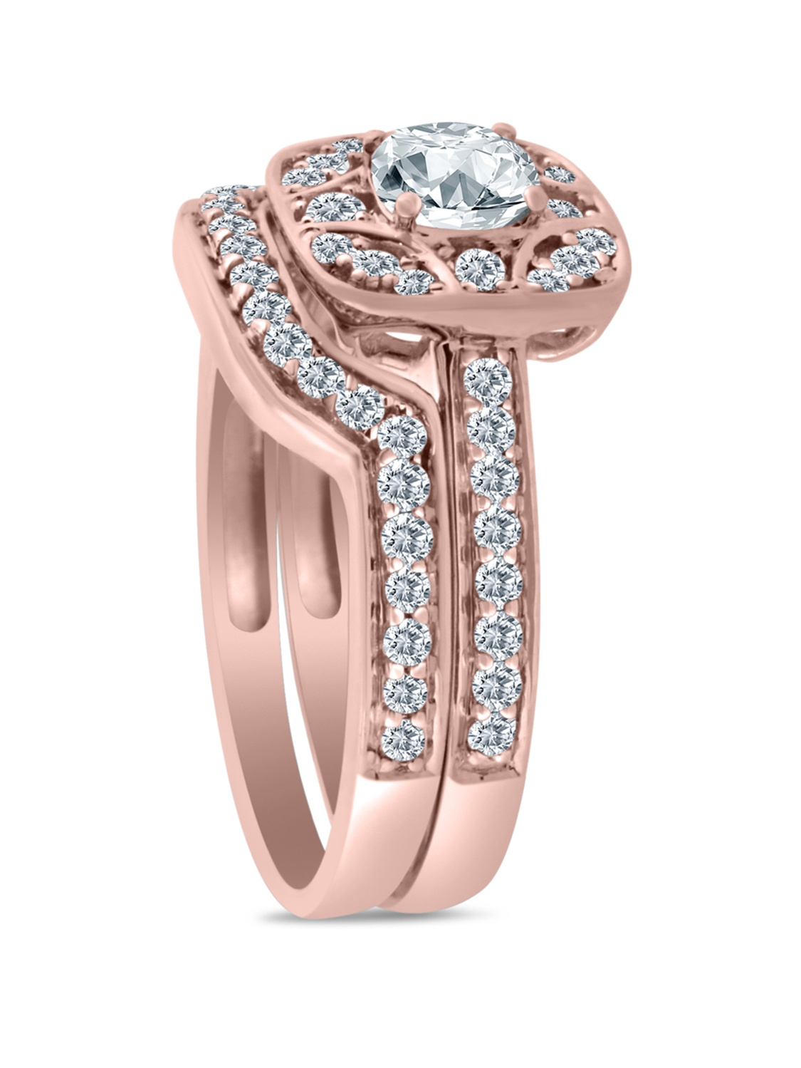 1/2ct tw Diamond Engagement Ring with Wedding Band in 10k Rose Gold ...