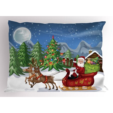 Christmas Pillow Sham Country Landscape at Night with Trees Santa Claus Snowdrift Reindeers Mountains, Decorative Standard Size Printed Pillowcase, 26 X 20 Inches, Multicolor, by Ambesonne (Snowdrift Santa)