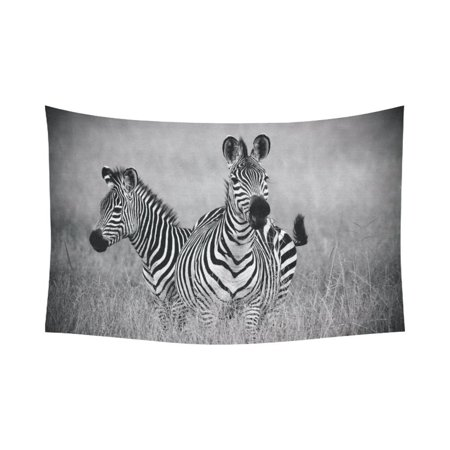 - PHFZK Animal Wall Art Home Decor, African Two zebras in Black and White Tapestry Wall Hanging 60 X 90 Inches