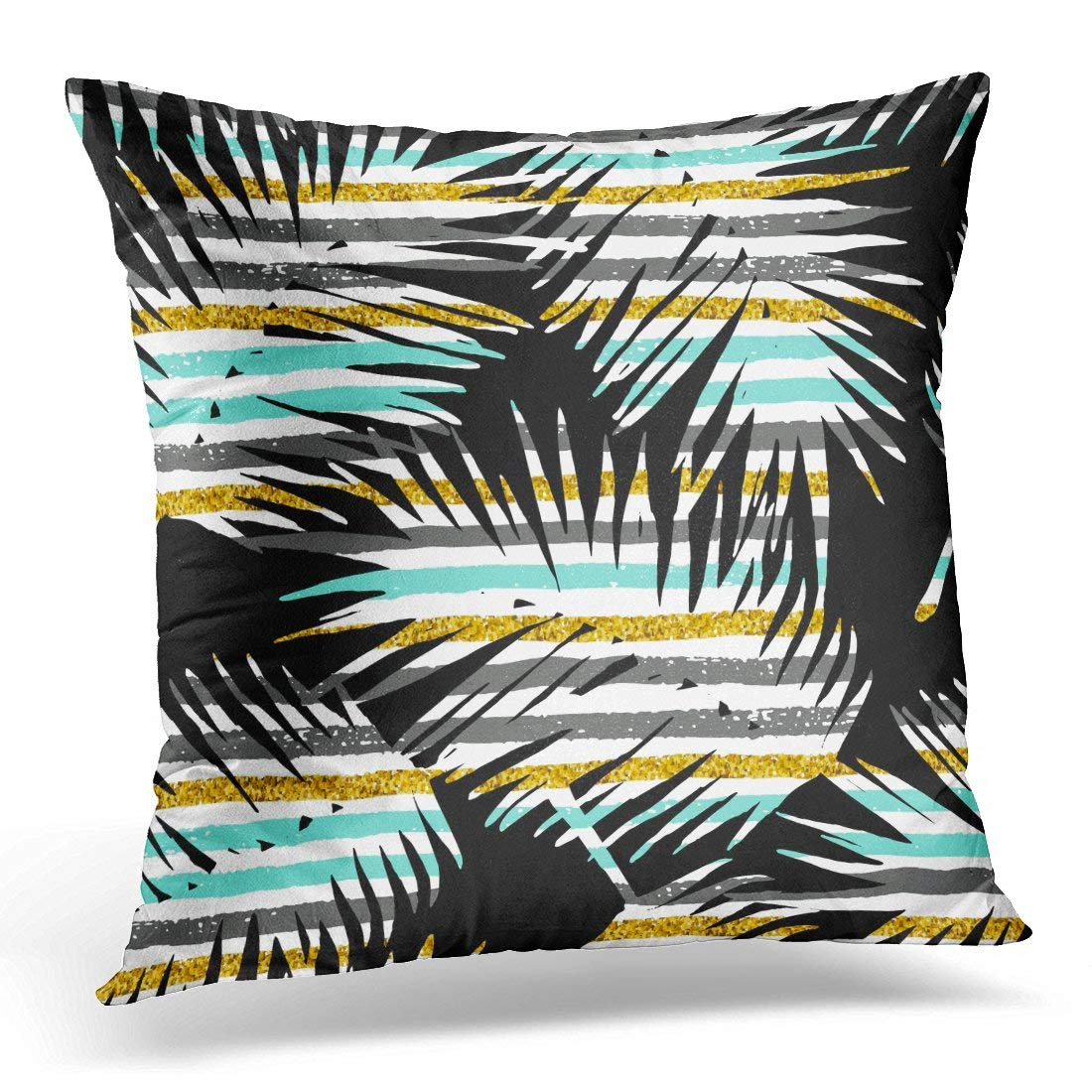 USART Beach Exotic Pattern with Palm Leaf Silhouettes Gold Glitter and Geometric Design Liana Pillow Case Pillow Cover 20x20 inch
