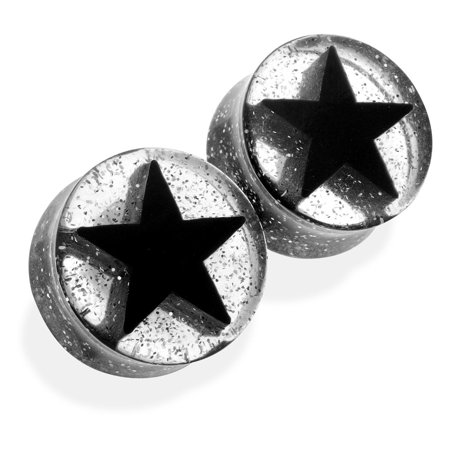 Pair Of Black  UV Acrylic 3D Star Double Flare Glitter Plugs,Gauge (Thickness):5/8