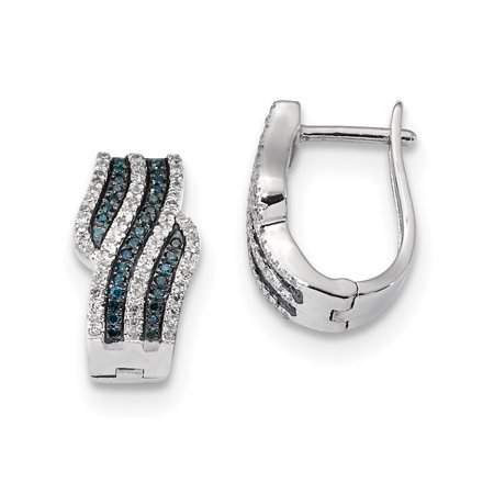 Sterling Silver Blue and White Diamond Earrings QE10808 - image 2 of 2