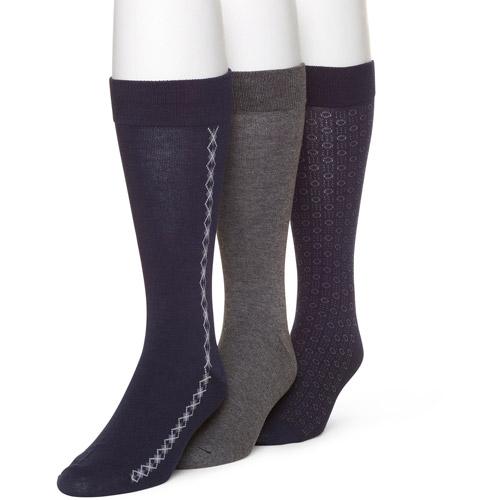 George Men's Brooks Argyle Dress Fashion Socks, 3-Pairs